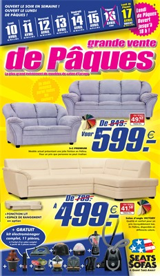 Folder Seats and Sofas du 10/04/2017 au 17/04/2017 - Grand vente de Pâques