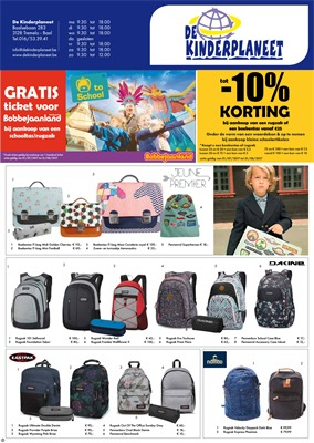 De Kinderplaneet folder van 11/07/2017 tot 31/08/2017 - Back to School