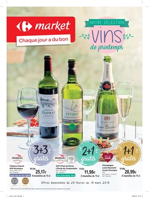 Folder Carrefour Market du 28/02/2018 au 18/03/2018 - Vins de printemps