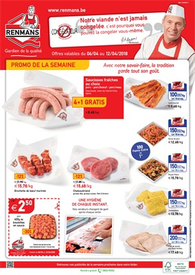 Folder Renmans du 06/04/2018 au 12/04/2018 - promotions de la semaine