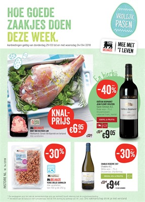 Delhaize folder van 29/03/2018 tot 04/04/2018 - promoties van de week