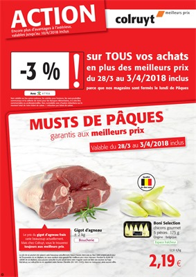 Folder Colruyt du 01/04/2018 au 10/04/2018 - promotions de la semaine