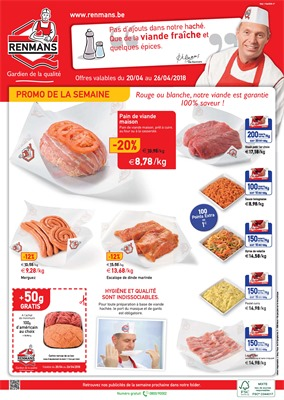 Folder Renmans du 20/04/2018 au 26/04/2018 - promotions de la semaine