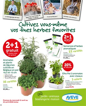 Folder Aveve du 11/04/2018 au 21/04/2018 - promotions de la semaine