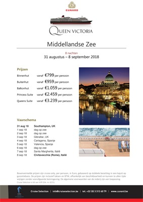 Cunard folder van 18/04/2018 tot 05/11/2018 - Promoties tot begin november