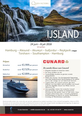 Cunard folder van 18/04/2018 tot 08/07/2018 - promoties tot begin juli