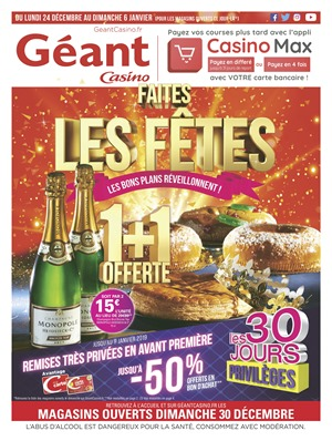 Folder Géant Casino du 24/12/2018 au 06/01/2019 - Promotions de la semaine