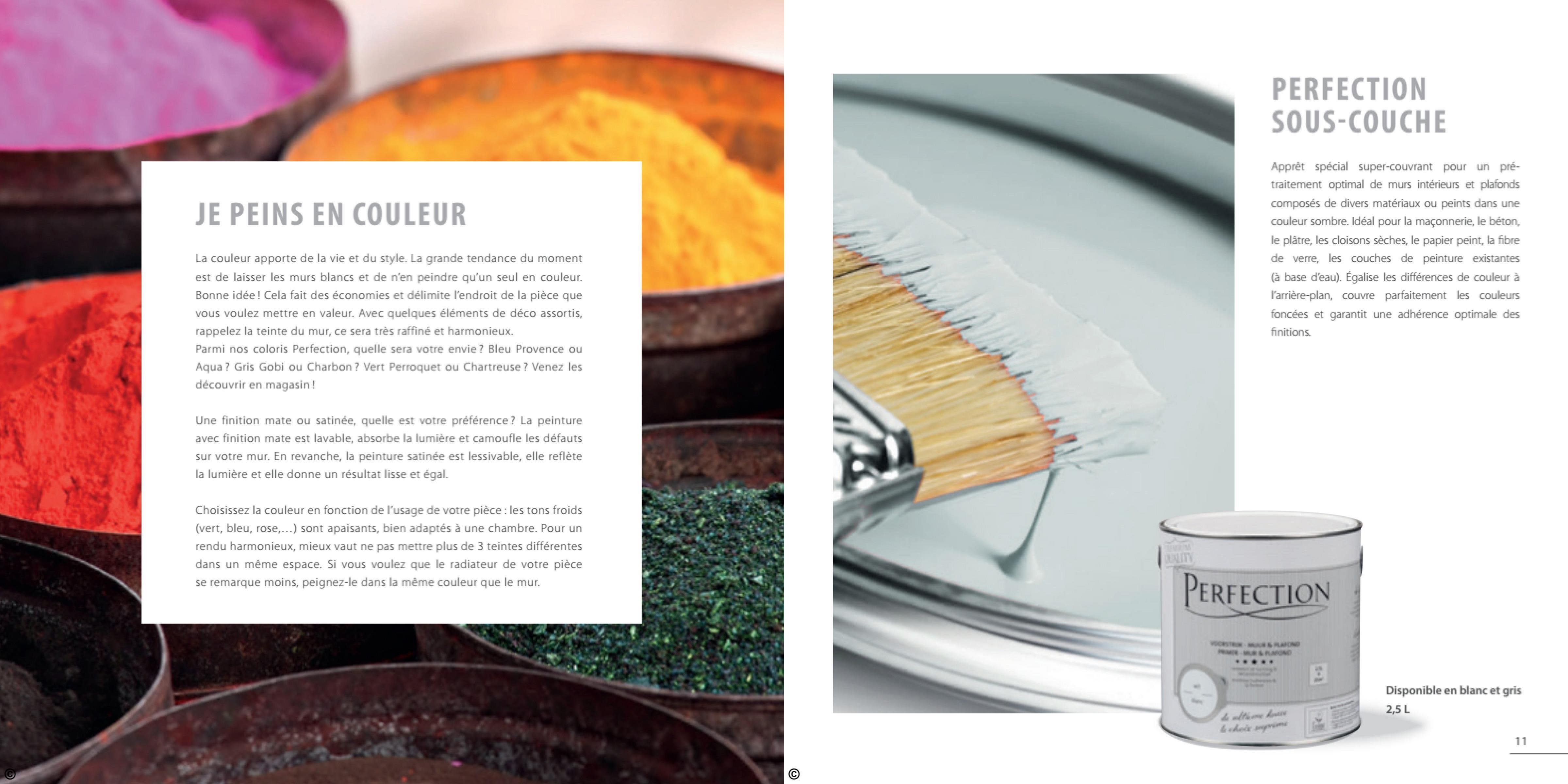 PERFECTION SOUS-COUCHE JE PEINS EN COULEUR Apprêt spécial super-couvrant pour un pré- traitement optimal de murs intérieurs et plafonds composés de divers matériaux ou peints dans une couleur sombre. Idéal pour la maçonnerie, le béton, le plätre, les cloisons sèches, le papier peint, la fibre de verre, les couches de peinture existantes (à base d'eau). Égalise les différences de couleur à l'arrière-plan, couvre parfaitement les couleurs foncées et garantit une adherence optimale des finitions La couleur apporte de la vie et du style. La grande tendance du moment est de laisser les murs blancs et de n'en peindre qu'un seul en couleur. Bonne idée! Cela fait des économies et délimite l'endroit de la pièce que vous voulez mettre en valeur. Avec quelques éléments de déco assortis, rappelez la teinte du mur, ce sera très raffiné et harmonieux. Parmi nos coloris Perfection, quelle sera votre envie ? Bleu Provence ou Aqua? Gris Gobi ou Charbon ? Vert Perroquet ou Chartreuse ? Venez les découvrir en magasin! Une finition mate ou satinée, quelle est votre préférence? La peinture avec finition mate est lavable, absorbe la lumière et camoufle les défauts sur votre mur. En revanche, la peinture satinée est lessivable, elle reflète la lumière et elle donne un résultat lisse et égal. Choisissez la couleur en fonction de l'usage de votre pièce : les tons froids (vert, bleu, rose,...) sont apaisants, bien adaptés à une chambre. Pour un rendu harmonieux, mieux vaut ne pas mettre plus de 3 teintes différentes dans un même espace. Si vous voulez que le radiateur de votre pièce se remarque moins, peignez-le dans la même couleur que le mur. PERFECTION VOORTER TELO Disponible en blanc et gris 2,5 L ਡੀ ਕੱਪ ਦੇ او بود. ان مدد کی