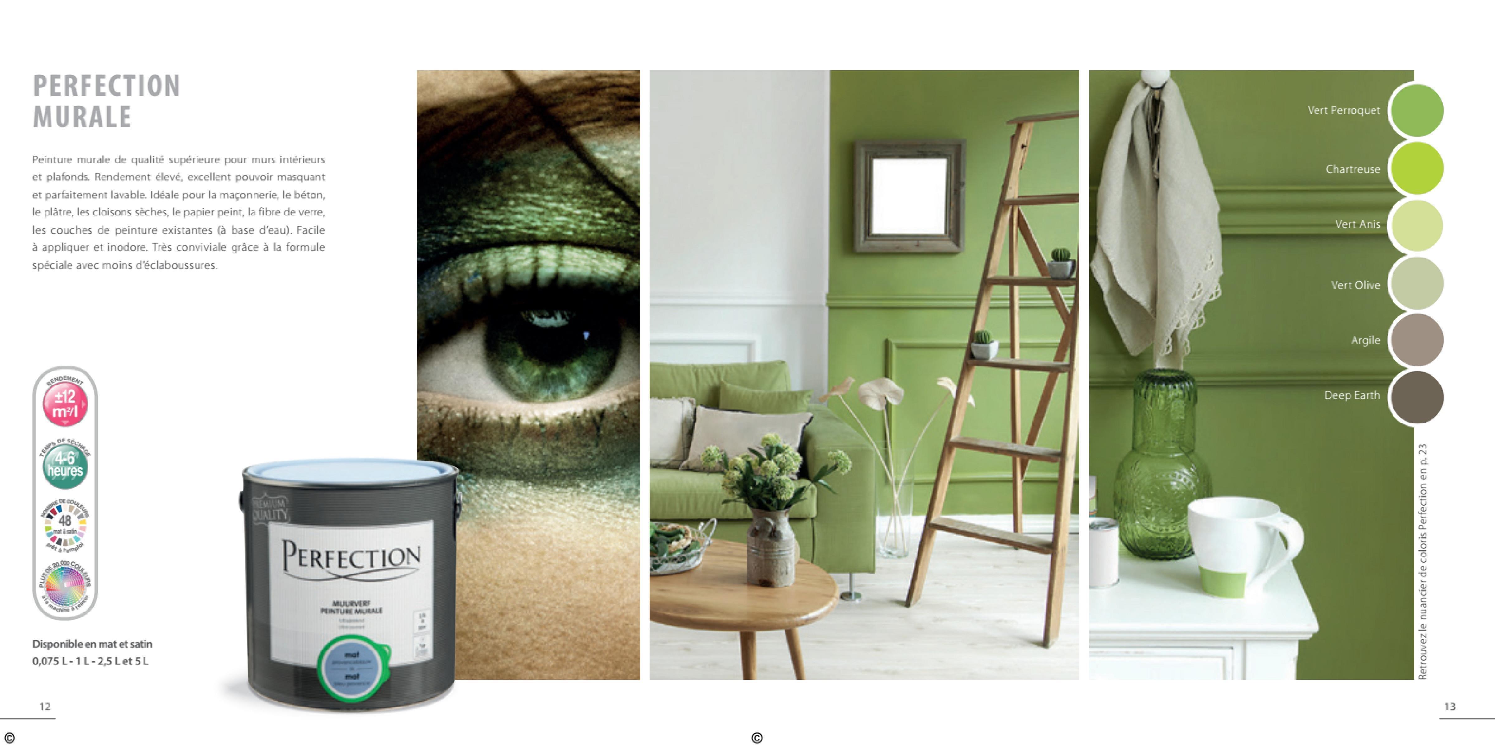 PERFECTION MURALE Vert Perroquet Chartreuse Peinture murale de qualité supérieure pour murs intérieurs et plafonds. Rendement élevé, excellent pouvoir masquant et parfaitement lavable. Idéale pour la maçonnerie, le béton, le plätre, les cloisons sèches, le papier peint, la fibre de verre, les couches de peinture existantes (à base d'eau). Facile à appliquer et inodore. Très conviviale grâce à la formule spéciale avec moins d'éclaboussures. Vert Anis Vert Olive Vert Olive Argile EME £12 Deep Earth ml DES 4-6 heures 48 ma PERFECTION Retrouvez le nuancier de coloris Perfection en p. 23 MULTET TUE MB Disponible en mat et satin 0,075 L-1 L-2,5 L et 5 L