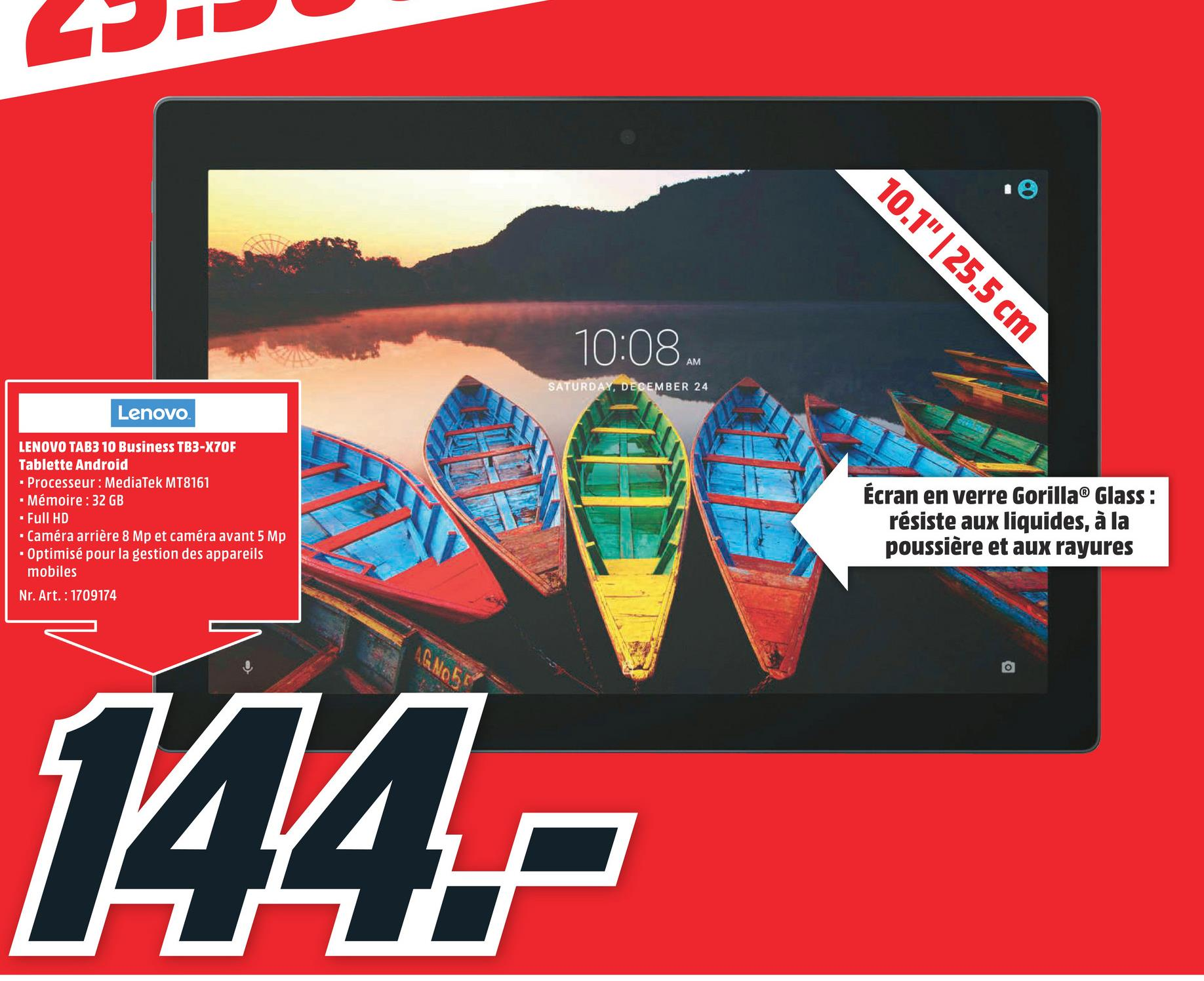 Folder MediaMarkt du 23/04/2018 au 29/04/2018 - LENOVO Tablette Tab 3 10 Business TB3-X70F 10.1'' 32 GB (ZA0X0150SE) ZA0X0150SE TB3-X70F MT8161 2G 32GB 10.1'' AND