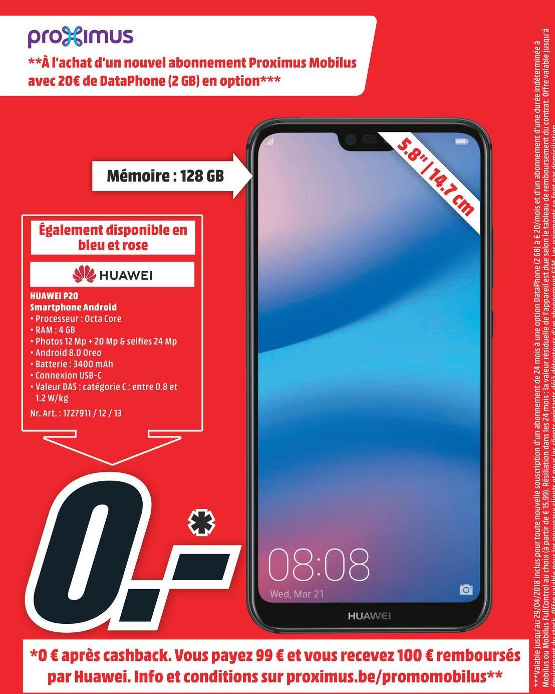 Folder MediaMarkt du 23/04/2018 au 29/04/2018 - HUAWEI Smartphone P20 Lite Dual SIM Bleu (51092FTP) P20 LITE 2SIM BLUE (51092FTP)