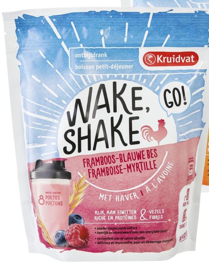 ontbijtdrank boisson petit-déjeuner Kruidvat WAKE, GO! SHAKE FRAMBOOS-BLAUWE BES FRAMBOISE-MYRTILLE À L'AVOINE OSTER PORTIES OPORTIONS MET HAVER KREO RIJK AAN EIWITTEN RICHE EN PROTÉINES O VEZELS FIBRES zonder toegevoegde sulkers heerlijk en verantwoord voor een energieke start ne contient pas de sucres ajoutés délicieux et responsable, pour un démarrage énergie