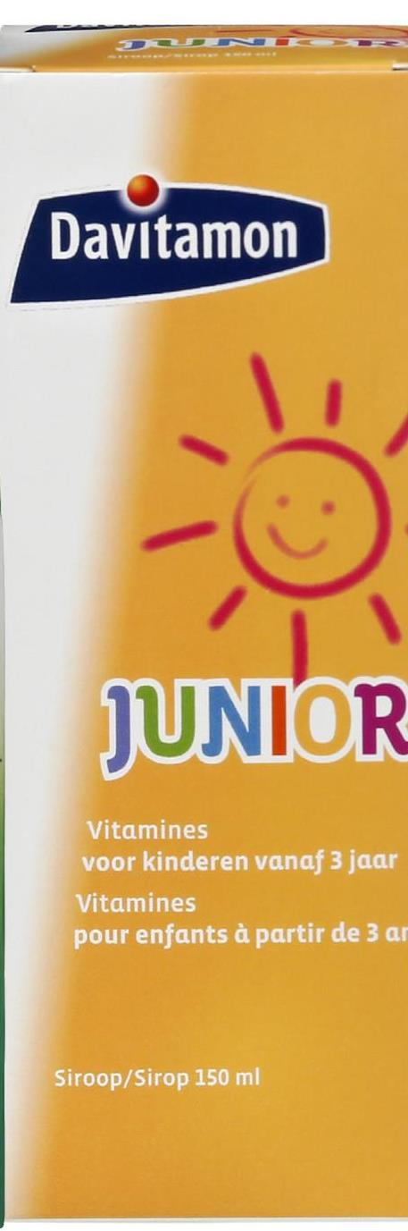 Davitamon JUNIOR Vitamines voor kinderen vanaf 3 jaar Vitamines pour enfants à partir de 3 ar Siroop/Sirop 150 ml