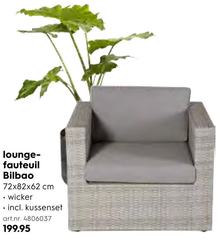 lounge- fauteuil Bilbao 72x82x62 cm • wicker • incl. kussenset art.nr. 4806037 199.95