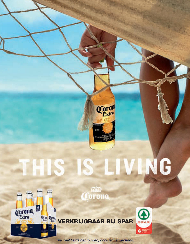 """Spar folder van 29/06/2018 tot 31/07/2018 - Corom """"Extra BLER CENA VALEN THIS IS LIVING Corona Corona """"Extras Con VERKRIJGBAAR BIJ SPAR SPAR G LETT Bier met liefde gebrouwen, drink je met verstand."""