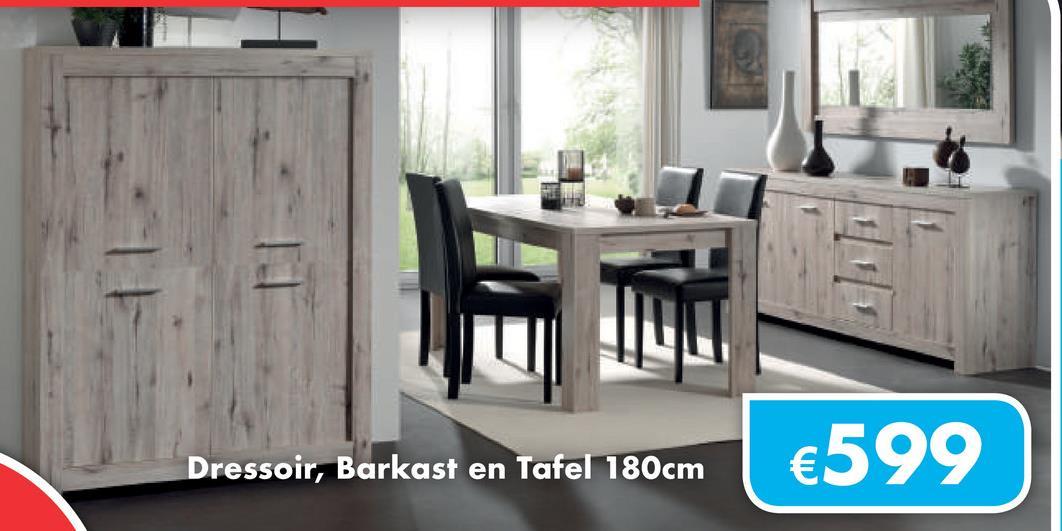 Dressoir, Barkast en Tafel 180cm €599