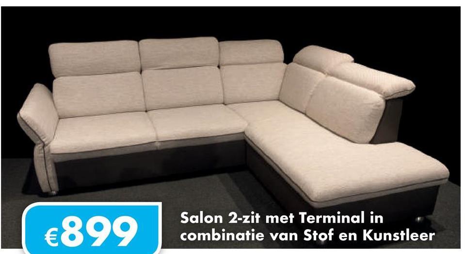 €899 Salon 2-zit met Terminal in combinatie van Stof en Kunstleer
