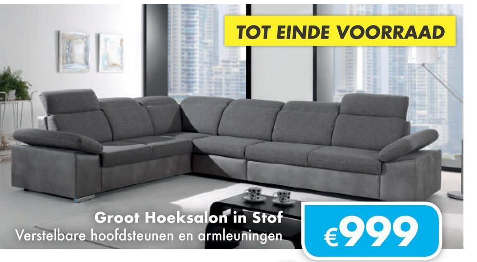 TOT EINDE VOORRAAD Groot Hoeksalon in Stof Verstelbare hoofdsteunen en armleuningen €999