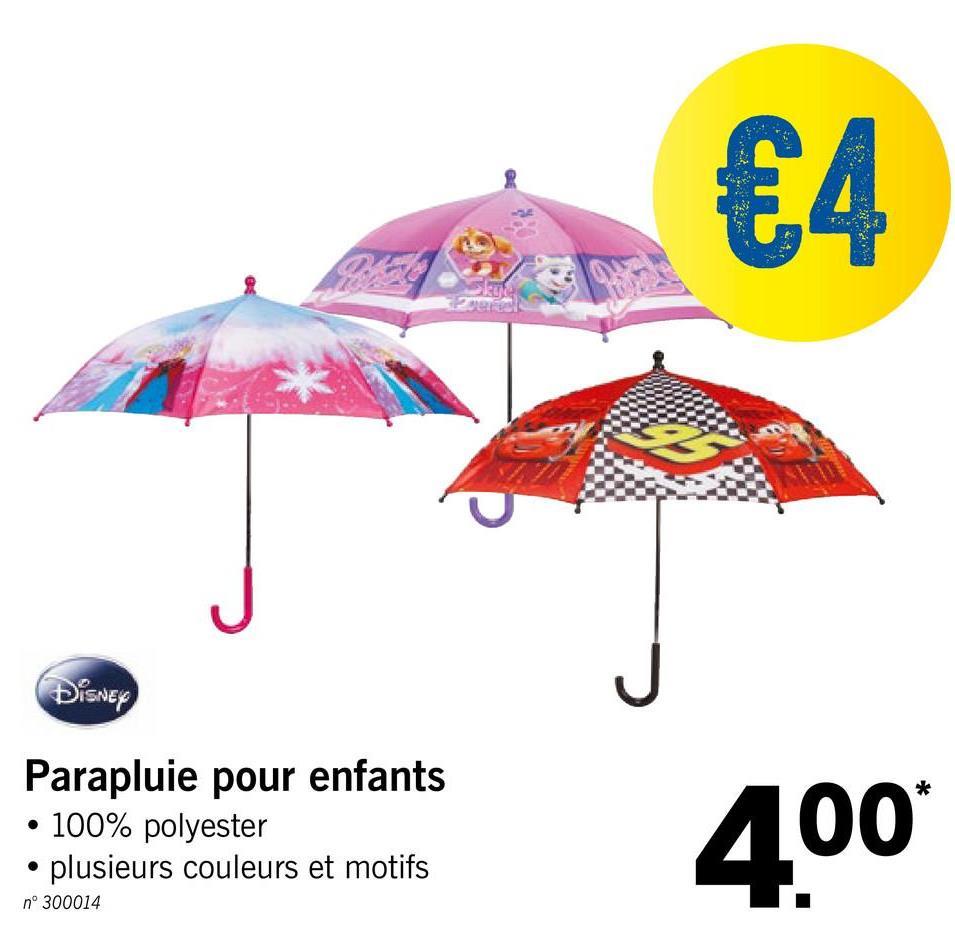 Disney Parapluie pour enfants • 100% polyester • plusieurs couleurs et motifs 400 n° 300014