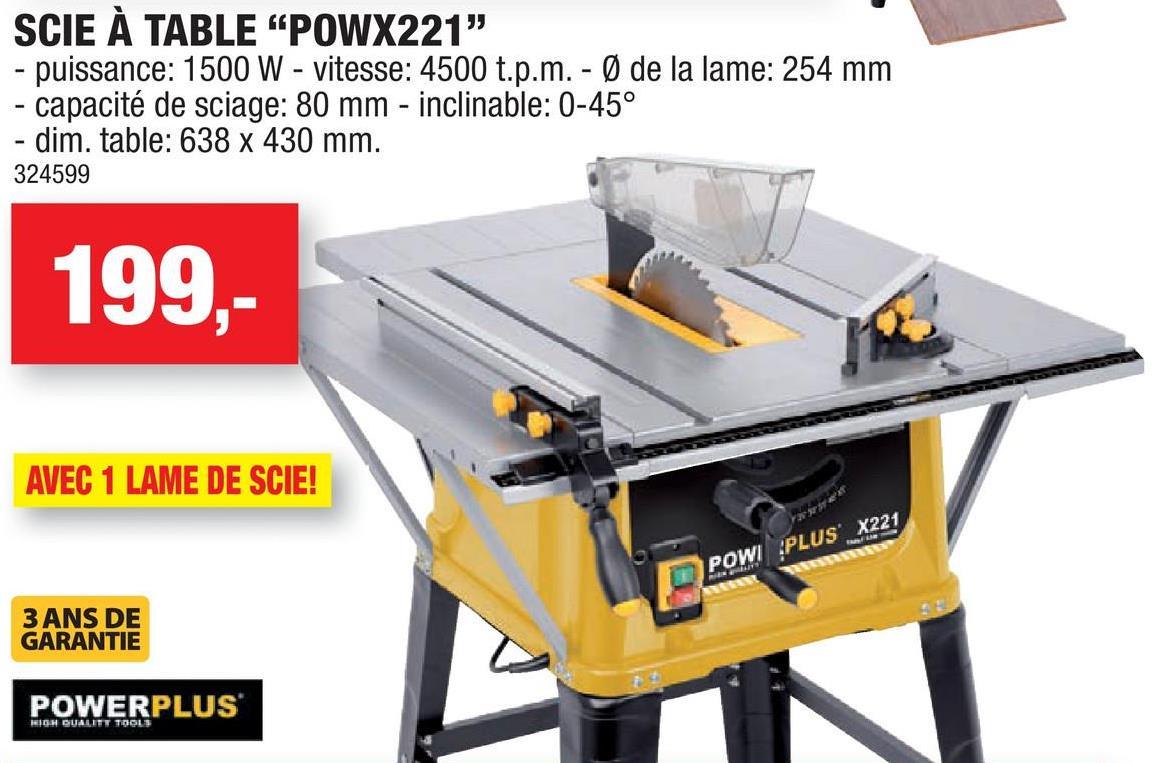 Scie à table 1500W 254mm POWX221 Cette scie à table de 1500W a un plan de travail de 638mm sur  430mm. Vous souhaitez travailler avec des panneaux longs et larges, de l'aggloméré stratifié ou des plinthes? Vous pourrez alors élargir ou allonger le plan de travail au moyen des rallonges fournies. Le montant du bord, le montant pour onglet et la lame de scie basculante vous permettent de scier facilement droit sous un certain angle, en oblique ou en double onglet. Travailler sans poussière permet d'avoir une vue nette sur la ligne de sciage et un environnement de travail propre et sûr sans sciure.