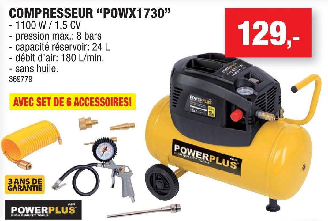Compresseur 1100W 24l non lubrifié POWX1730 Ce compresseur sans huile sur roues Powerplus X est équipé d'un réservoir d'une capacité de 24 litres qui se remplit rapidement grâce à un débit d'air élevé de 180l/min tout en assurant une pression constante de 8bar. Le plus grand avantage d'un compresseur sec est qu'il ne nécessite que très peu d'entretien.  Vous pouvez régler le manomètre vous même. Il indique exactement la pression avec laquelle vous travaillez et facilite l'utilisation du compresseur. Ce compresseur 1100W est livré avec les six accessoires les plus utilisés afin que vous puissiez vous mettre tout de suite au travail.Applications: gonfler les pneus de vélo et de voiture, les matelas gonflables, souffler la poussière, utiliser des outils pneumatiques tels qu'une clé à rouchets, une visseuse, une ponçeuse, une cloueuse ou une agrafeuse. Dans ce cas, il convient de tenir compte des performances d'aspiration de l'appareil et du besoin en air comprimé de l'outillage indiqué en l/min. Lors d'une utilisation prolongée, le réservoir a besoin de suffisamment de temps pour se reremplir.