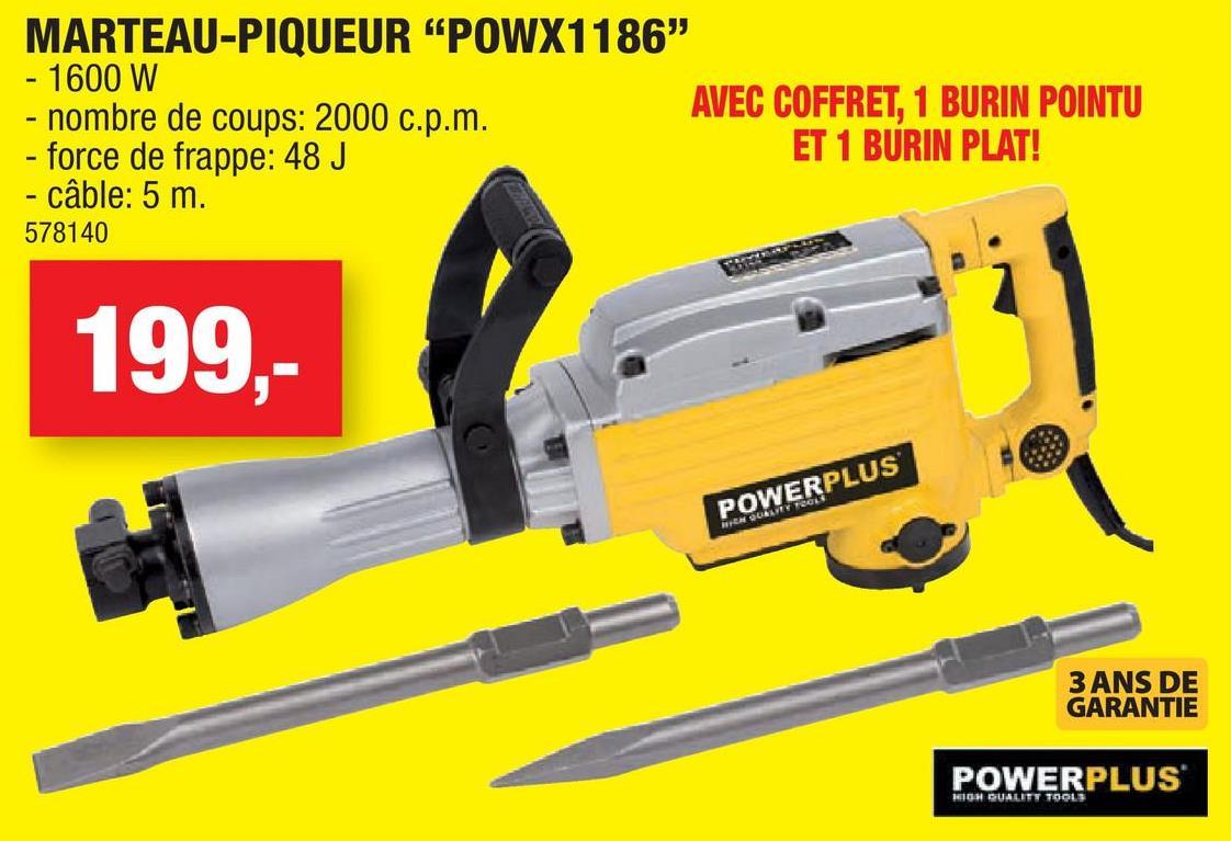 Marteau piqueur 1600W POWX1186
