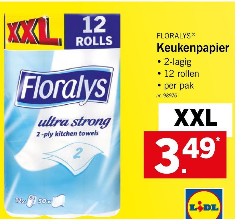 12 ROLLS FLORALYS® Keukenpapier • 2-lagig • 12 rollen . per pak Floralys nr. 98976 ultra strong 2 -ply kitchen towels XXL 349 12x950x