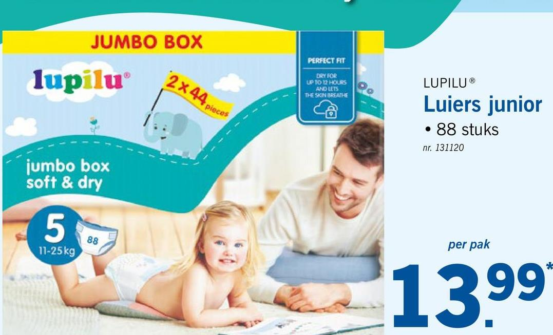 JUMBO BOX PERFECT FIT lupilu x DRYKOR P1012 HOURS AND LETS THE SON BREATHE LUPILUⓇ 4 piece co Luiers junior • 88 stuks nr. 131120 jumbo box soft & dry 11-25 kg per pak 1399