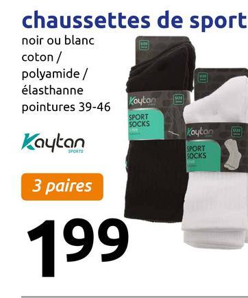 chaussettes de sport noir ou blanc coton / polyamide / élasthanne pointures 39-46 Koutane SPORT SOCKS Kaukan Koutan SPORT SOCKS 3 paires 199