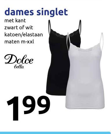 dames singlet met kant zwart of wit katoen/elastaan maten m-xxl Dolce bella 199