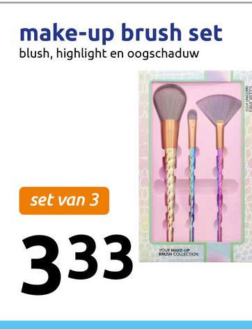 make-up brush set blush, highlight en oogschaduw set van 3 RUM COLLECTION 333