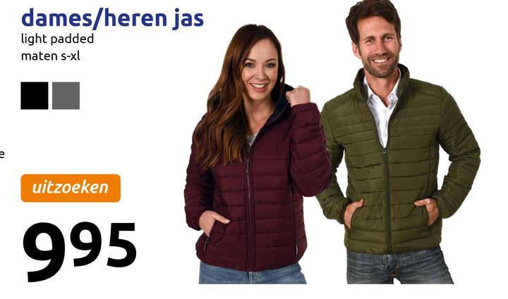dames/heren jas light padded maten s-xl uitzoeken 995