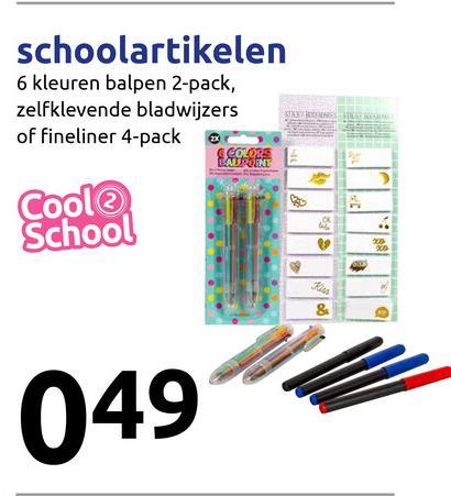 schoolartikelen 6 kleuren balpen 2-pack, zelfklevende bladwijzers of fineliner 4-pack ESSER Cool School 049