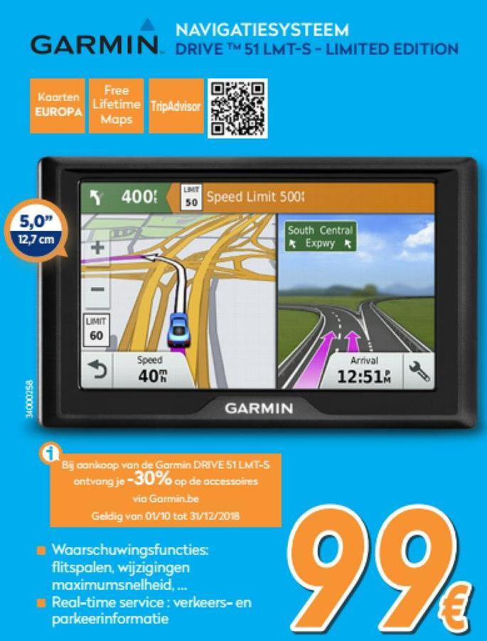 Drive™ 51 LMT-S - Limited Edition - Europa  <strong>GPS-navigatietoestel met waarschuwingen voor de bestuurder</strong>    Waar u ook naartoe gaat, uw reis wordt fijner met Garmin Drive. Dit GPS-navigatietoestel bevat handige waarschuwingen voor de bestuurder om veiliger te rijden, live services die u actuele informatie geven en ingebouwde gegevens van TripAdvisor zodat u op reis alles wat u nodig hebt kunt vinden. Uw Garmin wijst de weg. U hoeft alleen maar te rijden.    <strong>Live services voor uw Drive</strong>    Wees files voor met tijdbesparende alternatieve routes of door ze volledig te vermijden. Bespaar ook tijd door de live-informatie, u hoeft niet meer naar een parkeerplaats te zoeken. Download voor verkeerswaarschuwingen, relevante omleidingen en actuele weersverwachtingen de Smartphone Link app, waarmee u uw Garmin Drive kunt koppelen aan een compatibele smartphone. Wanneer u uw bestemming nadert, heeft u geen parkeerstress meer omdat u de tarieven en beschikbaarheid van parkeerplaatsen kunt bekijken. De Smartphone Link app heeft ook LiveTrack, waarmee u als bestuurder uw locatie kunt delen zodat uw vrienden uw locatie kunnen volgen, of u nou boodschappen in het dorp aan het doen bent of op een lange rondreis bent.    <strong>Waarschuwingen voor de bestuurder: Ken uw omgeving</strong>    Om veiliger te rijden en uw omgevingsbewustzijn te vergroten, biedt Garmin Drive waarschuwingen voor de bestuurder voor scherpe bochten, wijzigingen in de maximumsnelheid, spoorwegovergangen en dierenoversteekplaatsen. Bovendien zal het navigatietoestel u waarschuwen als u in de verkeerde rijrichting rijdt op een eenrichtingsweg en als u in de buurt bent van scholen of in schoolzones. Ontvang meldingen voor flitspalen in de buurt en zelfs vermoeidheidswaarschuwingen die aangeven dat u misschien even moet pauzeren nadat u meerdere uren hebt gereden.    <strong>Uw reis wordt beter dankzij TripAdvisor</strong>    Als u de omgeving niet kent, is het fijn om iets te hebben