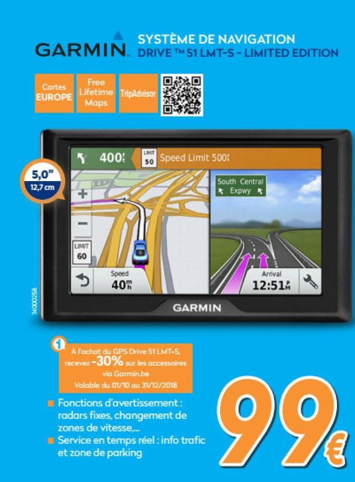 Drive™ 51 LMT-S - Limited Edition - Europe  <strong>Navigateur GPS dédié avec alertes à l'attention du conducteur</strong>    Où que vous alliez, profitez d'un trajet sans encombre avec le Drive de Garmin. Ce système de navigation GPS comprend des alertes utiles qui améliorent votre vigilance, des services en temps réel qui vous fournissent des informations à jour, ainsi que des données TripAdvisor qui vous permettent de trouver tout ce dont vous avez besoin sur votre route. Le futur est dans votre Garmin. Regardez devant vous et roulez.    <strong>Des services Live pour votre route</strong>    Evitez les embouteillages en les contournant ou en empruntant des itinéraires alternatifs. Avec les informations en temps réel, vous perdrez aussi moins de temps à tourner en rond à la recherche d'une place de parking. Pour profiter d'alertes de trafic, de la fonction de recalcul d'itinéraire et des prévisions météo à jour, téléchargez l'application Smartphone Link, qui vous permet de connecter votre Garmin Drive avec votre smartphone compatible. Quand vous approchez de votre destination, évitez de tourner à la recherche d'une place pour vous garer grâce aux informations sur le prix et la disponibilité des parkings publics. L'application Smartphone Link vous permet aussi d'activer LiveTrack, la fonction qui vous donne la possibilité de partager votre position avec vos amis, pour qu'ils puissent vous suivre quand vous faites votre shopping en ville ou que vous partez pour un long trajet.    <strong>Alertes pour le conducteur : Soyez informé de votre environnement</strong>    Pour améliorer la sécurité au volant et la vigilance du conducteur, le Garmin Drive émet des alertes en cas de virages dangereux, de changements de zones de vitesse, de passages à niveau et de traversées d'animaux. De plus, le GPS vous signale lorsque vous circulez à contre-sens sur une voie à sens unique et émet des alertes lorsque vous approchez d'écoles et de zones scolaires. Profitez de notifications e