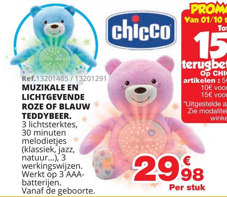Baby Bear Knuffel vriendje Roze Zachte beer met projector die zorgt voor spectaculaire lichteffecten en relaxerende melodieën. - Zacht en perfect om te knuffelen, met zachte plastic buik. - Projectie met automatische kleurwisseling. - 30 minuten melodieën in de genres klassiek, jazz, new age en natuurgeluiden - Klassieke muziek van Bach en Beethoven - Paarse knop om je favoriete melodie te kiezen - Machinewasbaar Vanaf geboorte.