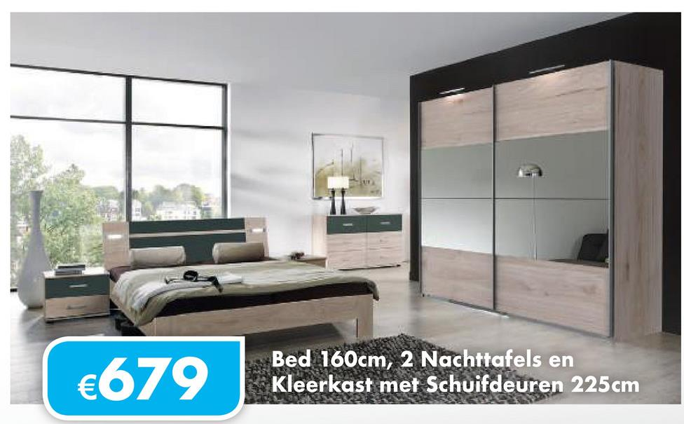 €679 Bed 160cm, 2 Nachttafels en Kleerkast met Schuifdeuren 225cm