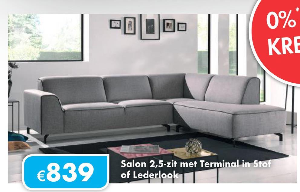 0 . 0%* KRE Salon 2,5-zit met Terminal in Stof of Lederlook 1