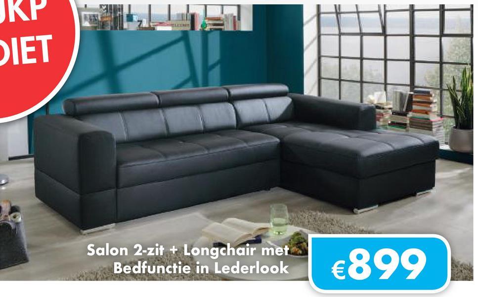 JKP TULLI DIET Salon 2-zit + Longchair met Bedfunctie in Lederlook €899