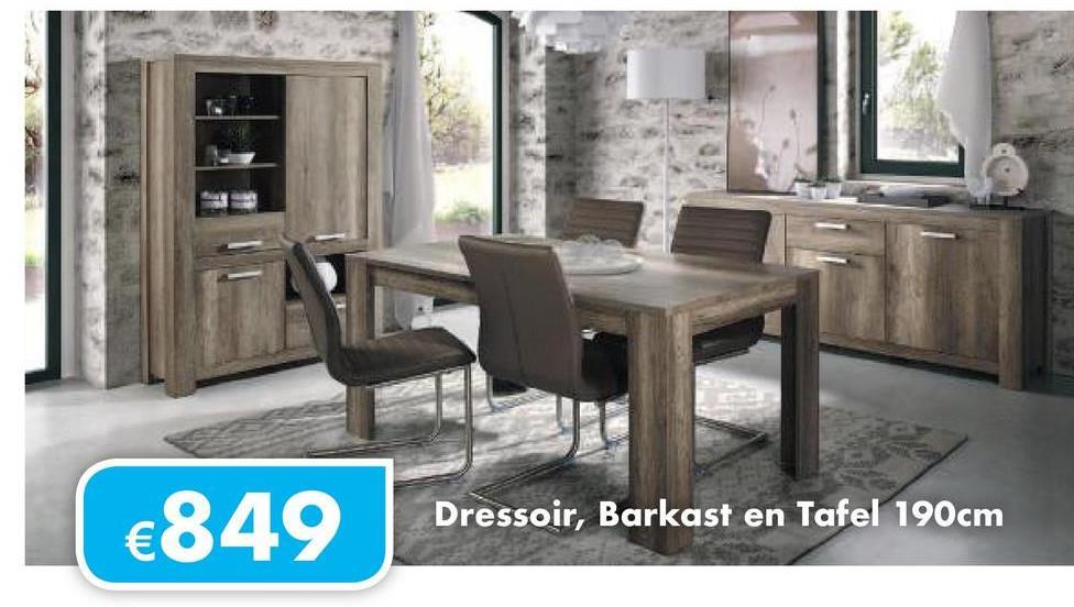 €849 Dressoir, Barkast en Tafel 190cm