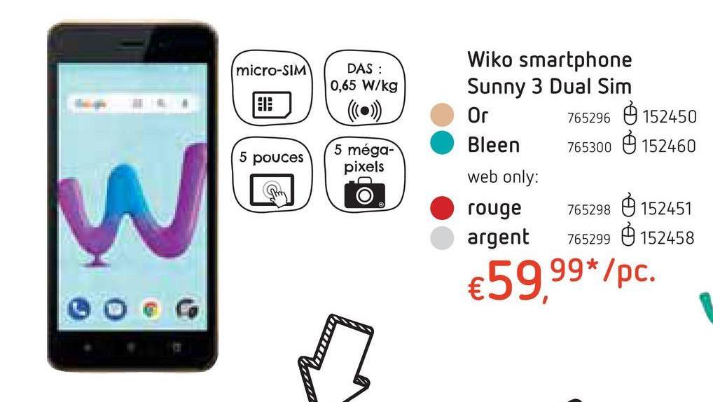 Wiko smartphone Sunny 3 Dual Sim Or
