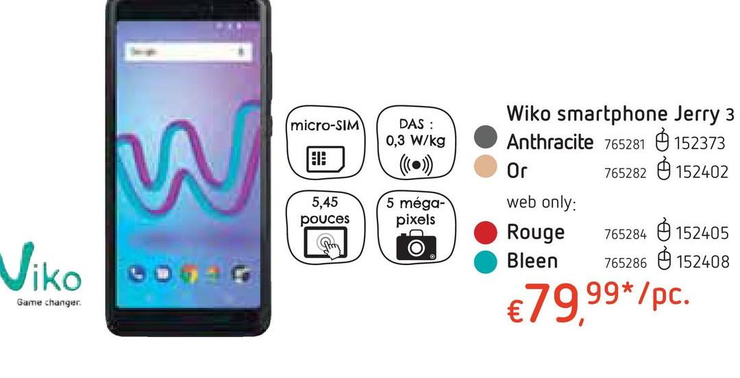 Wiko smartphone Jerry 3 Anthracite