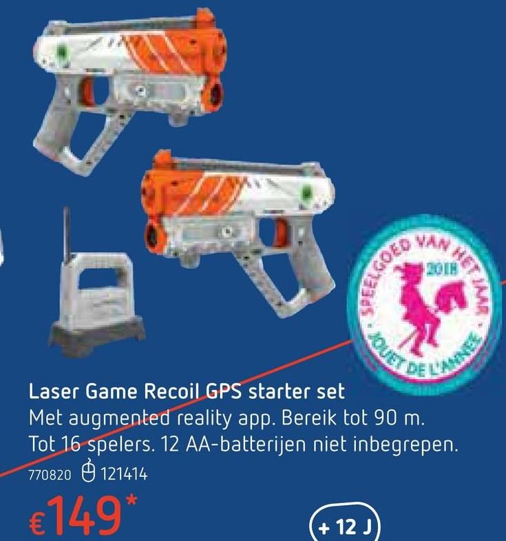 Laser Game Recoil GPS starter set Fan van lasergames? Waag je dan aan de ultieme 'First Person Shooter'-spelervaring van Recoil! Met augmented reality verander je welke locatie dan ook in een ware warzone. Creëer een multiplayer slagveld waar en wanneer je maar wil ! Gezien de Recoil WiFi-hub GPS-activated is, kan je zelf je spelmodus en zone kiezen. Met een actiebereik rondom rond van meer dan 90 m, volgt de WiFi-hub alle actie op het slagveld: zowel de bewegingen van je bondgenoten als die van je vijanden. Dit is het brein van de operatie. Hij analyseert de belangrijkste doelen van je missie en begeleidt je tot munitiepunten om te herbewapenen. Het is ook dankzij hem dat je weet dat een van je bondgenoten in gevaar is. En dankzij je telefoon, natuurlijk! Beleef de ervaring ten volle met behulp van de augmented reality app op je smartphone, jouw grootste bondgenoot in deze missie. Jouw wapen, in deze starterskit, is de RK-45 Spitfire. Een compacte, multifunctionele blaster: een gegarandeerde meerwaarde! Plaats tot slot de verplaatsbare 3D-audio in het centrum van alle actie, daardoor word je onmiddellijk geïnformeerd dankzij je oortjes. Je kan in walkie-talkie mode bovendien communiceren met de rest van je team. Ten aanval! NB : de accessoires zijn enkel te gebruiken als aanvulling op de Starter Pack. 12 AA-batterijen niet inbegrepen.