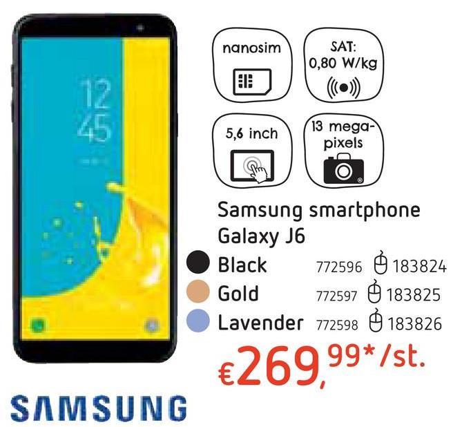 """Samsung smartphone Galaxy J6 Lavender De paarse Galaxy J6 in metaaluitvoering heeft een groot scherm van 5,6"""". Groot genoeg voor multitasking: je kan filmpjes bekijken en tegelijk chatten met je vrienden, bijvoorbeeld."""