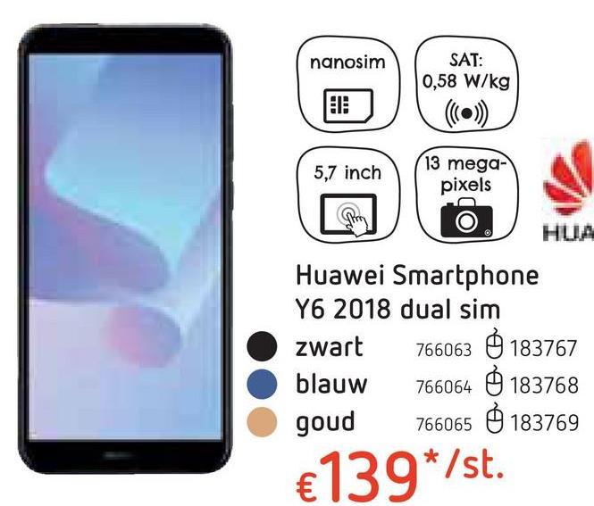Huawei Smartphone Y6 2018 dual sim blauw Zoek je een krachtige smartphone met een uitstekende camera? Dan heb je hem gevonden: de Huawei Y6 2018 in het blauw!