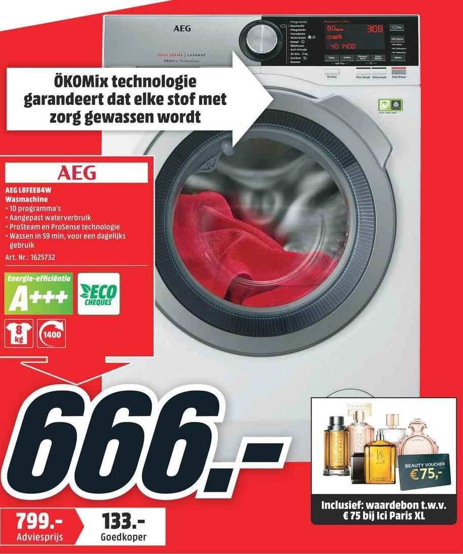 AEG Wasmachine voorlader A+++ (L8FEE84W) # L8FEE84W A+++B