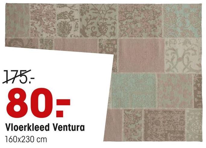 Vloerkleed Ventura Groen Handgemaakt vloerkleed Ventura, een katoenen patchworkkleed met verschillende motieven. Afmeting: 120x180 cm (bxl). Kleur: groen.