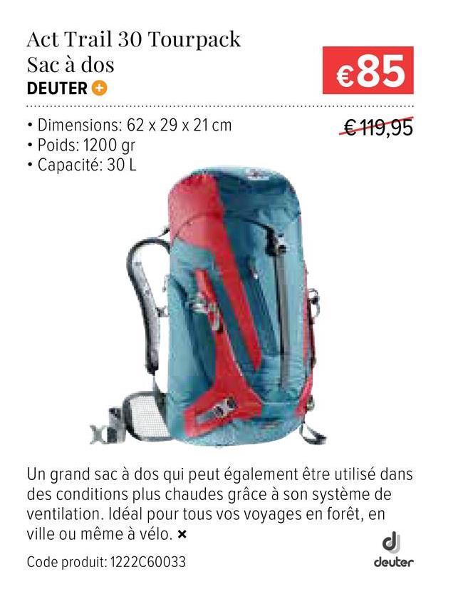 Deuter Sac À Dos De Randonnée Act Trail 30 - Bleu Un grand sac à dos qui peut également être utilisé dans des conditions plus chaudes grâce à son système de ventilation. Idéal pour tous vos voyages en forêt, en ville ou même à vélo.