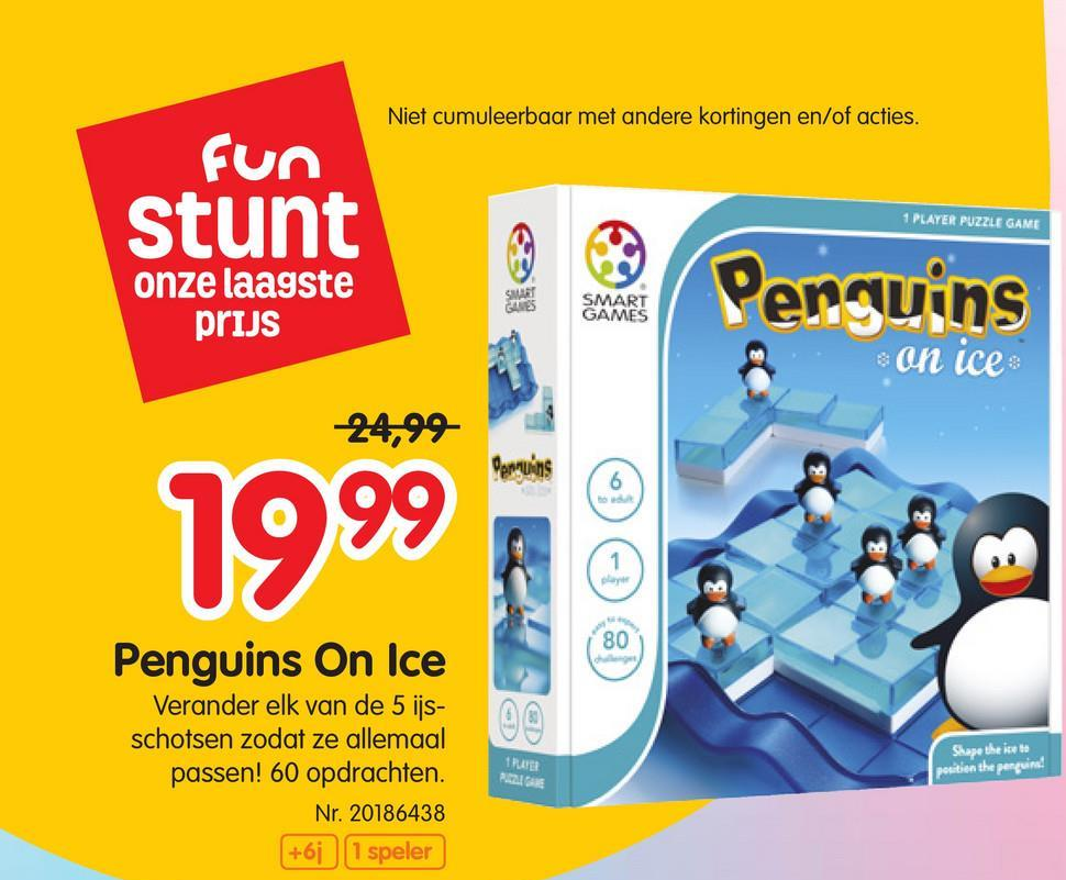 Smart Games Penguins On Ice Kan jij elk puzzelstuk de juiste vorm geven zodat de ijsschotsen samen op het spelbord passen én alle pinguins op de juiste plaats terecht komen?