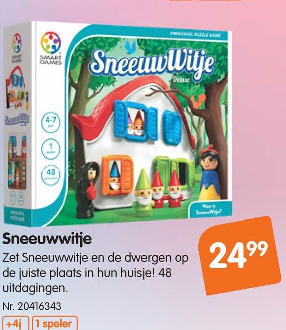 Smart Games Sneeuwwitje Ontdek de magie van het populaire sprookje in dit originele denkspel speciaal voor kleuters.